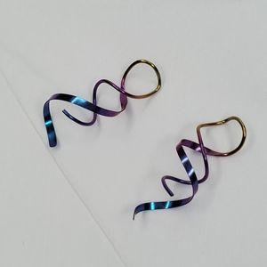 Rainbow Titanium Ear Threads Earrings